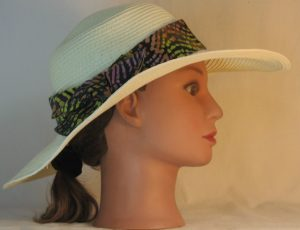 Floppy Hat Band in Pink Yellow Orange Green Black Lined Curves Batik - right