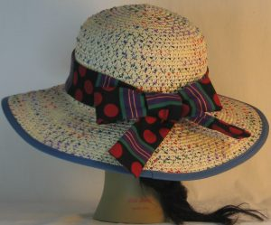 Floppy Hat Band in Red Polka Dots Green Purple Yellow Stripe - back