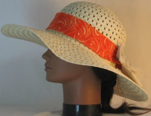 Floppy Hat Band in Orange Cream Swirls Ties Tan - left