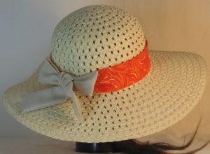 Floppy Hat Band in Orange Cream Swirls Ties Tan - back