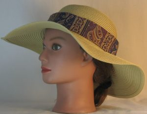 Floppy Hat Band in Plum Green Stripe with Brown Paisley - left