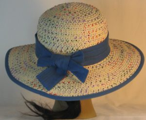 Floppy Hat Band in Yellow Blue Circles Grid on Dusty Blue - back