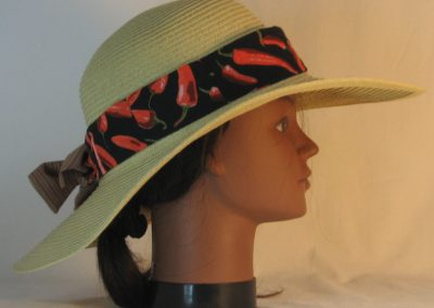 Floppy Hat Band in Red Pepper on Black Ties Stripe - right