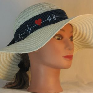 Floppy Hat Band in EKG Blue Grid Heart on Black Medical - front right