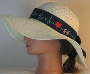 Floppy Hat Band in EKG Blue Grid Heart on Black Medical - left