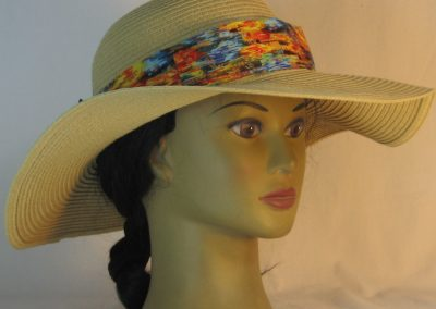 Floppy Hat Band in Blue Yellow Orange Green Brushed with Gold Ties Gray - front right