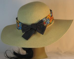 Floppy Hat Band in Blue Yellow Orange Green Brushed with Gold Ties Gray - back