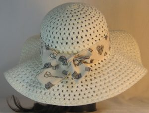 Floppy Hat Band in Thimble Thread Scissors on Cream - back