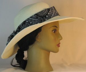 Floppy Hat Band in White Paisley with Flower on Black - right