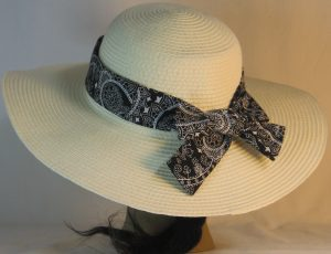 Floppy Hat Band in White Paisley with Flower on Black - back