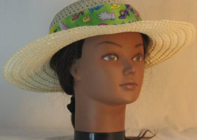 Floppy Hat Band in Shoes Hat Fish Mouse on Lime Green Patchwork Yellow - front