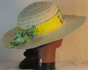 Floppy Hat Band in Shoes Hat Fish Mouse on Lime Green Patchwork Yellow - back right