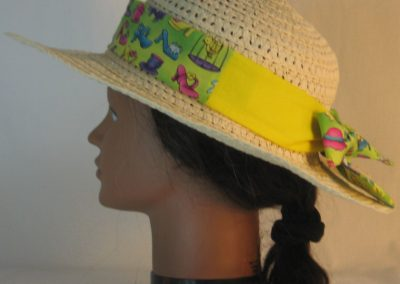 Floppy Hat Band in Shoes Hat Fish Mouse on Lime Green Patchwork Yellow - left