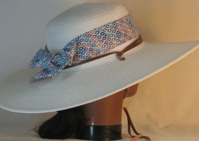 Floppy Hat Band in Blue Turquoise Red Diamond on Blue White Tie Dye with White Ties - back right