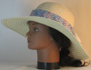 Floppy Hat Band in Blue Turquoise Red Diamond on Blue White Tie Dye with White Ties - left