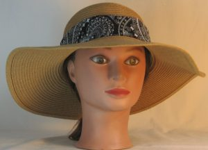 Floppy Hat Band in White Paisley with Flower on Black Ties White - front