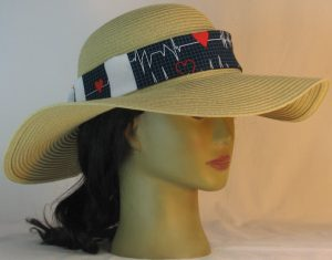 Floppy Hat Band in EKG Blue Grid Heart on Black Patchwork White Medical - front right