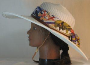 Floppy Hat Band in Mustard Purple Blue Orange Flower Lily Daffodil - left