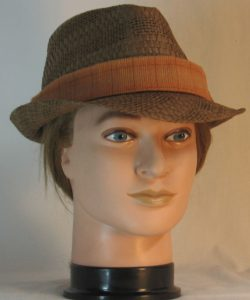 Fedora Hat Band in Orange Brown Yellow Window Pane Plaid Flannel Shirting - front