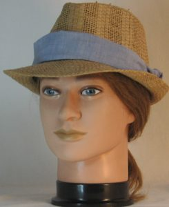 Floppy Hat Band in Light Blue with White Shirting - front