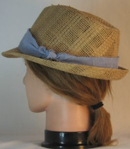 Floppy Hat Band in Light Blue with White Shirting - back left