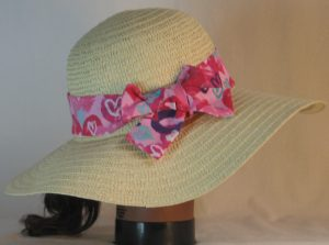 Floppy Hat Band in Pink Purple Aqua Hearts on Pink - back right