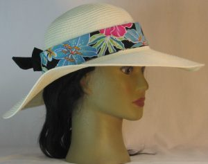 Floppy Hat Band in Pink Turquoise Green White Hawaii Like Flowers on Black Ties Black - right