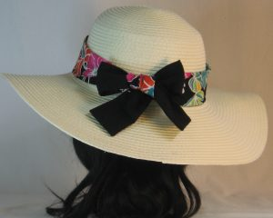 Floppy Hat Band in Pink Turquoise Green White Hawaii Like Flowers on Black Ties Black - back
