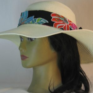 Floppy Hat Band in Pink Turquoise Green White Hawaii Like Flowers on Black Ties Black - left