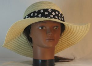 Floppy Hat Band in White Paws on Black Ties Black - front