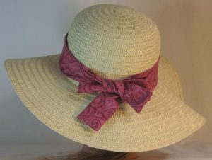Floppy Hat Band in Burgundy Paisley Scrolls on Dusty Pink - back