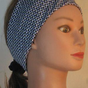 Headband in Black Blue Lattice Knit - right